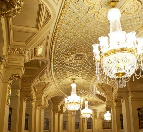 The interiors of Opera theatre are in a classical style and called Viennese Modern, you can see the great composers' names written on the wall in gold letters. Kyiv, Ukraine