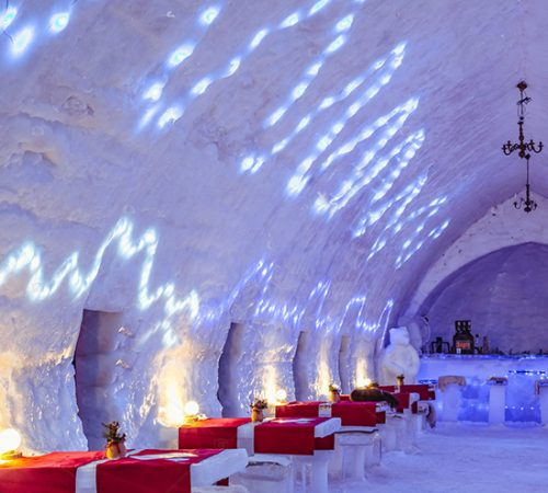 Ice Hotel - Balea Lake Romania - January 24 2019. The famous ice hotel on the frozen glacier Balea lake in Fagaras Mountains, Sibiu county,  Transylvania, Romania, Europe